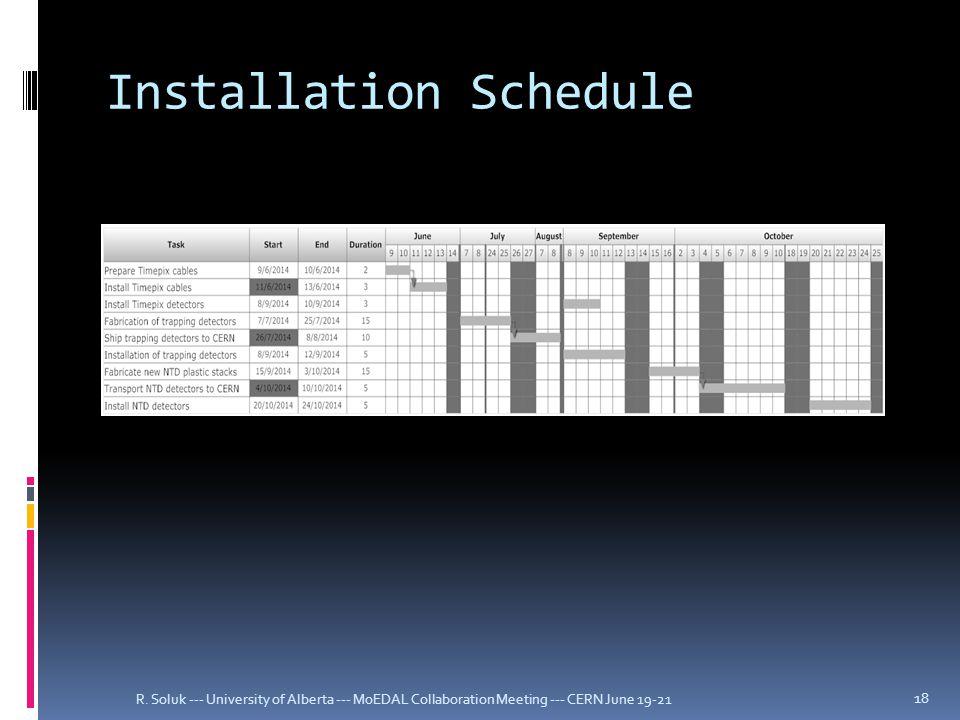 Installation Schedule R.