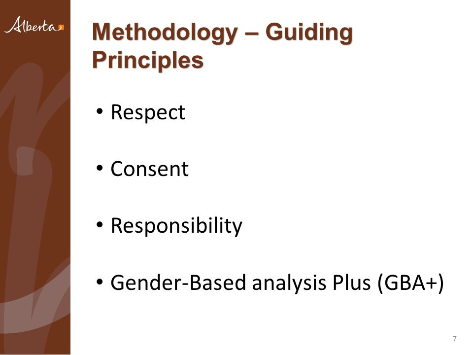 Methodology – Guiding Principles 7 Respect Consent Responsibility Gender-Based analysis Plus (GBA+)
