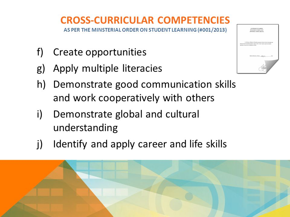 CROSS-CURRICULAR COMPETENCIES AS PER THE MINSTERIAL ORDER ON STUDENT LEARNING (#001/2013) f)Create opportunities g)Apply multiple literacies h)Demonst