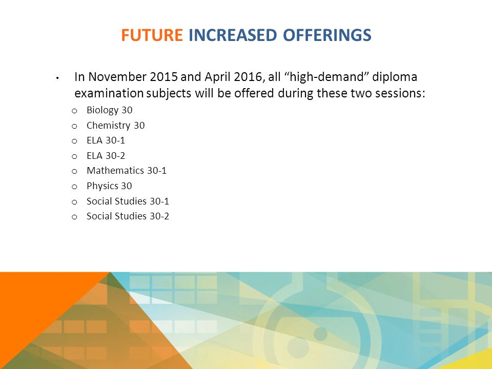 "FUTURE INCREASED OFFERINGS In November 2015 and April 2016, all ""high-demand"" diploma examination subjects will be offered during these two sessions:"