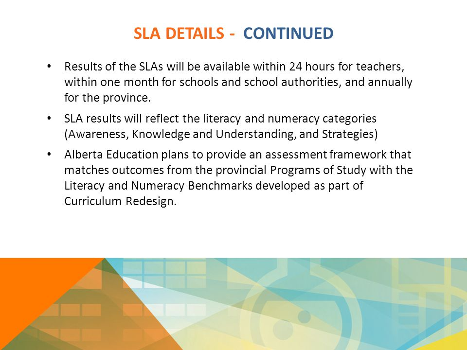 SLA DETAILS - CONTINUED Results of the SLAs will be available within 24 hours for teachers, within one month for schools and school authorities, and a