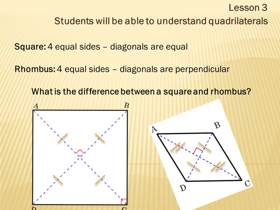 Lesson 3 Students will be able to understand quadrilaterals Square: 4 equal sides – diagonals are equal Rhombus: 4 equal sides – diagonals are perpend