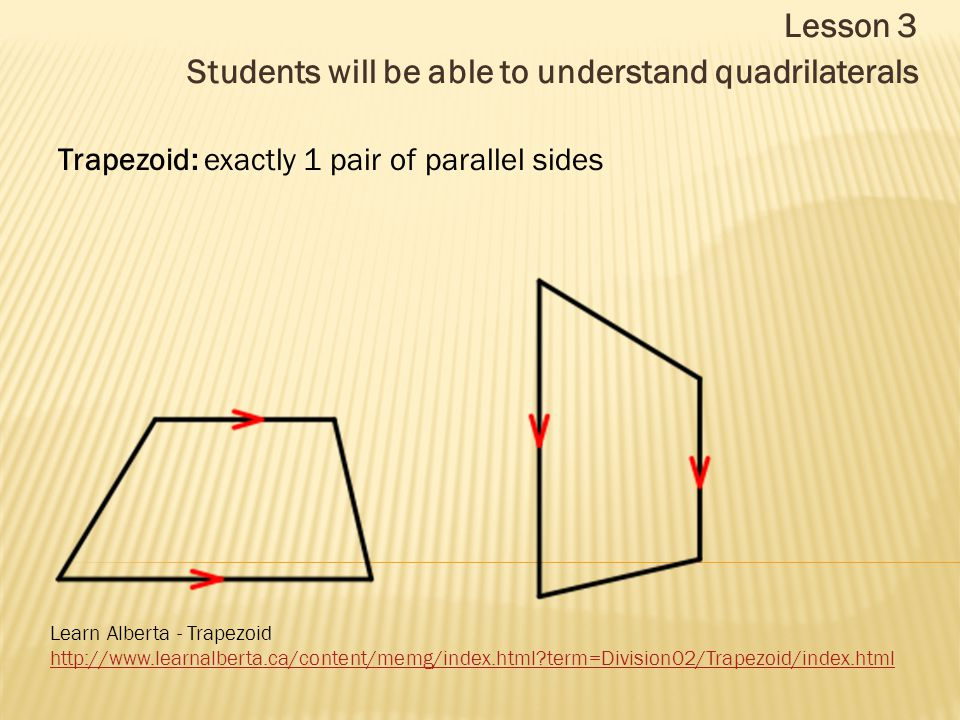 Lesson 3 Students will be able to understand quadrilaterals Trapezoid: exactly 1 pair of parallel sides Learn Alberta - Trapezoid http://www.learnalberta.ca/content/memg/index.html term=Division02/Trapezoid/index.html