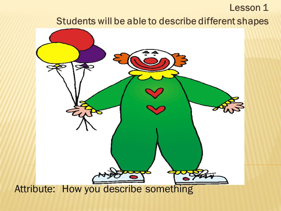 Lesson 1 Students will be able to describe different shapes Attribute: How you describe something
