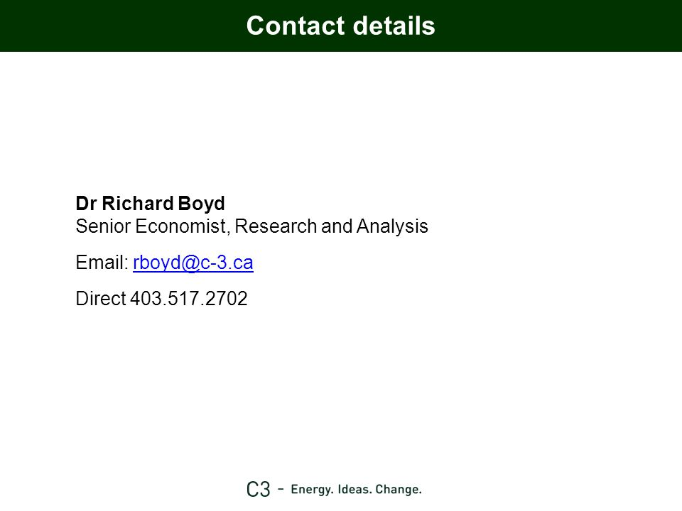 Dr Richard Boyd Senior Economist, Research and Analysis Email: rboyd@c-3.carboyd@c-3.ca Direct 403.517.2702 Contact details