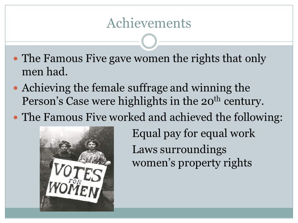 Achievements The Famous Five gave women the rights that only men had.