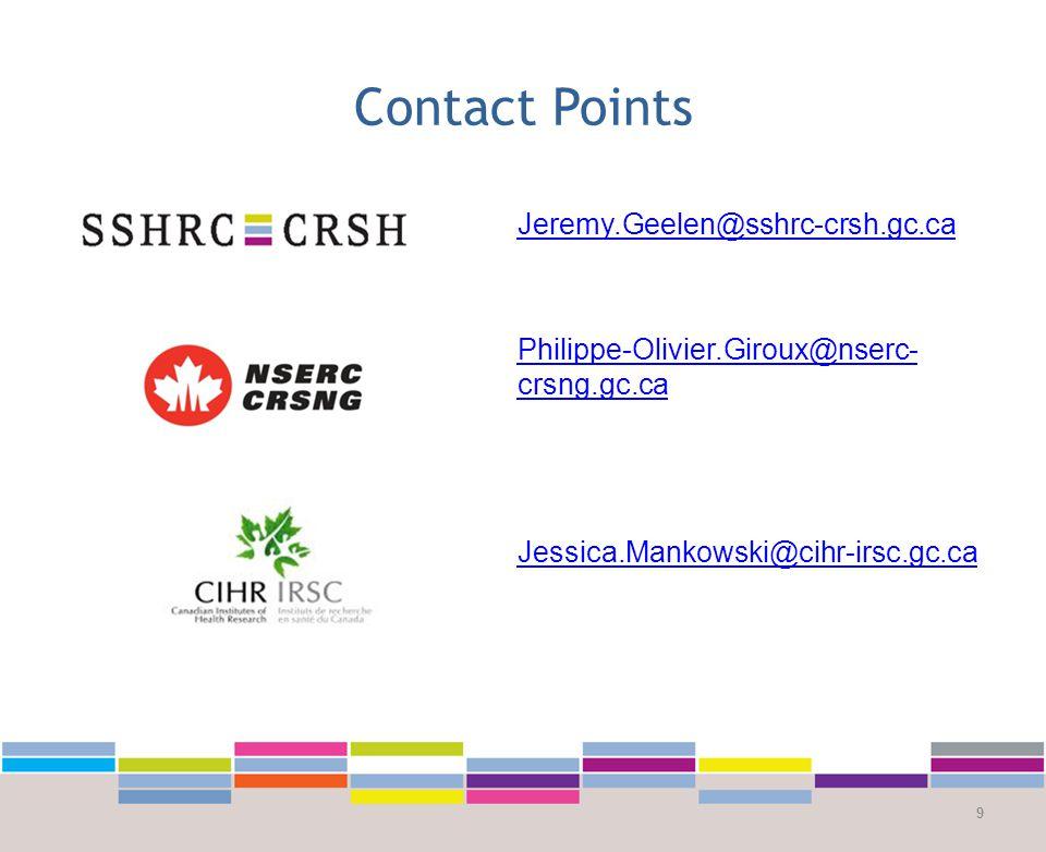 Contact Points 9 Jeremy.Geelen@sshrc-crsh.gc.ca Philippe-Olivier.Giroux@nserc- crsng.gc.ca Jessica.Mankowski@cihr-irsc.gc.ca