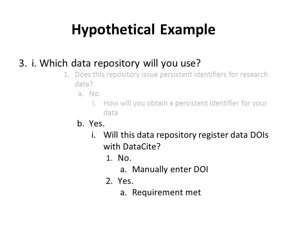 Hypothetical Example 3.i. Which data repository will you use.