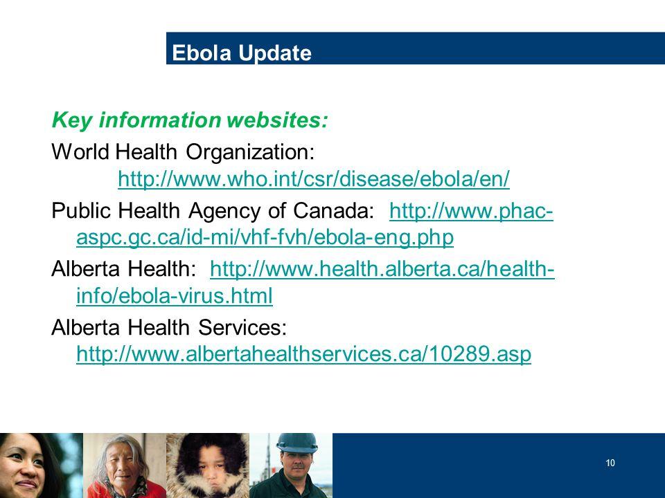 10 Key information websites: World Health Organization: http://www.who.int/csr/disease/ebola/en/ http://www.who.int/csr/disease/ebola/en/ Public Health Agency of Canada: http://www.phac- aspc.gc.ca/id-mi/vhf-fvh/ebola-eng.phphttp://www.phac- aspc.gc.ca/id-mi/vhf-fvh/ebola-eng.php Alberta Health: http://www.health.alberta.ca/health- info/ebola-virus.htmlhttp://www.health.alberta.ca/health- info/ebola-virus.html Alberta Health Services: http://www.albertahealthservices.ca/10289.asp http://www.albertahealthservices.ca/10289.asp Ebola Update