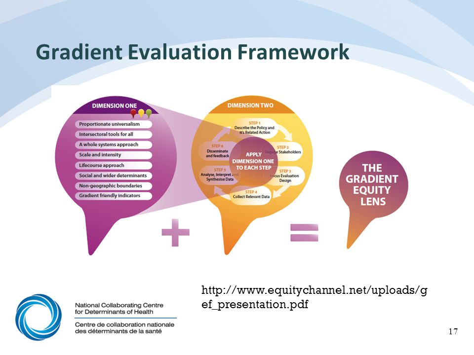 Gradient Evaluation Framework Developed by The Gradient Project, University of Brighton, coordinated by EuroHealth Net How developed Consensus building workshops Peer review process Extensive literature review Assessed NCCMT