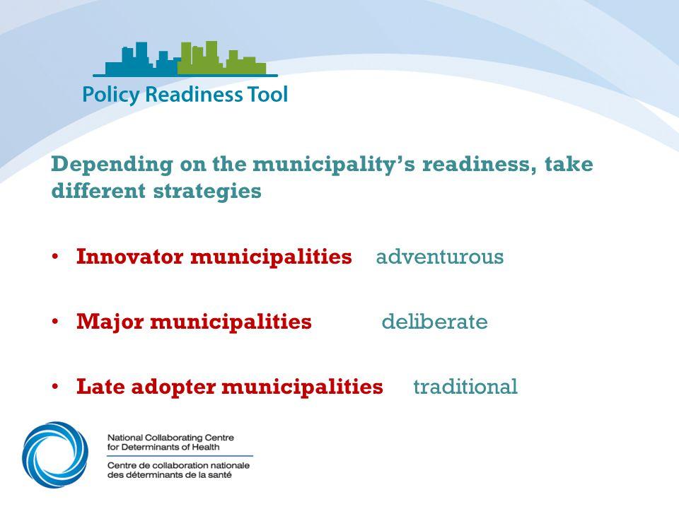 Depending on the municipality's readiness, take different strategies Innovator municipalities adventurous Major municipalities deliberate Late adopter municipalities traditional