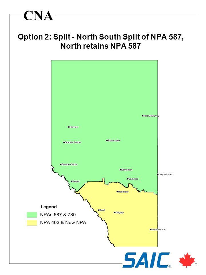 CNA Option 2: Split - North South Split of NPA 587, North retains NPA 587