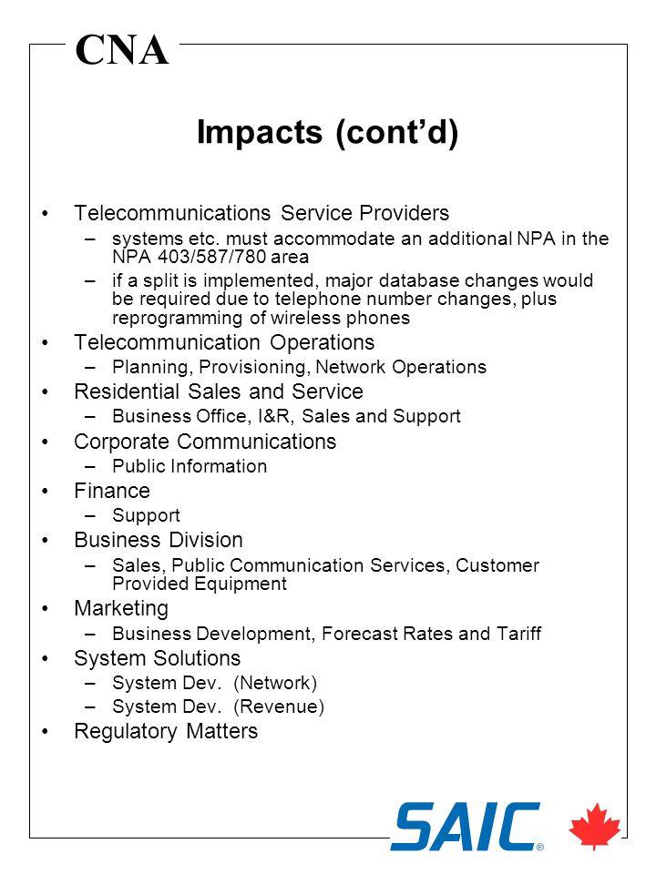 CNA Telecommunications Service Providers –systems etc.