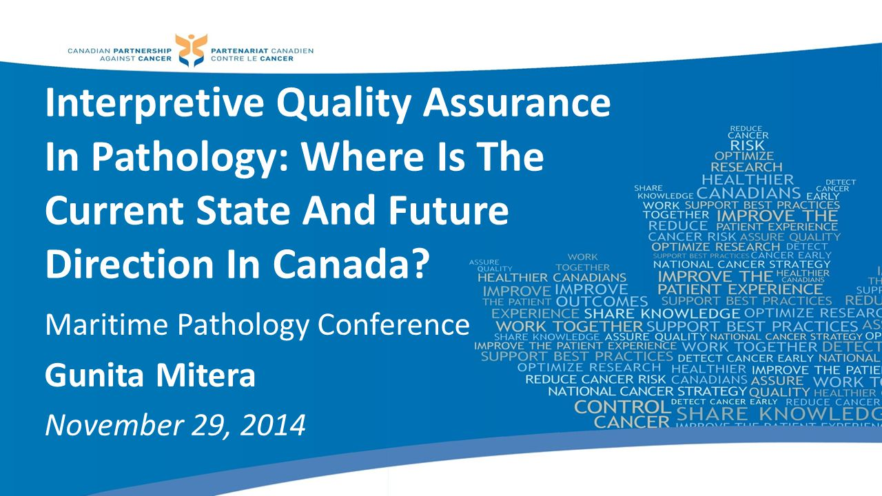 Objectives To provide an overview of the rationale for the Quality Initiative in Interpretive Pathology (QIIP) project To describe the current landscape of interpretive pathology quality in Canada To have a discussion on the QIIP framework and plans for local implementation 2