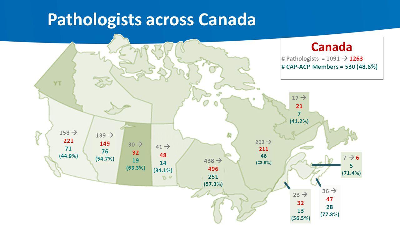 Pathologists across Canada Canada # Pathologists = 1091  1263 # CAP-ACP Members = 530 (48.6%) 158  221 71 (44.9%) 139  149 76 (54.7%) 30  32 19 (6
