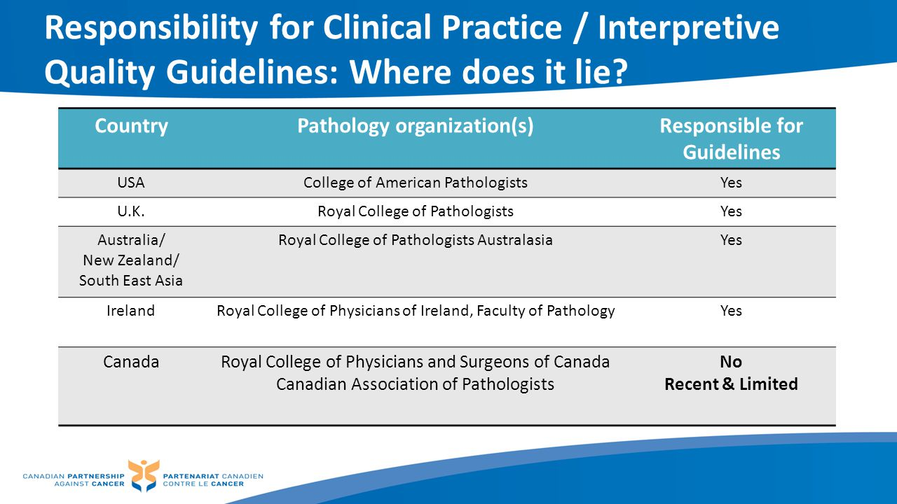 Responsibility for Clinical Practice / Interpretive Quality Guidelines: Where does it lie? CountryPathology organization(s)Responsible for Guidelines