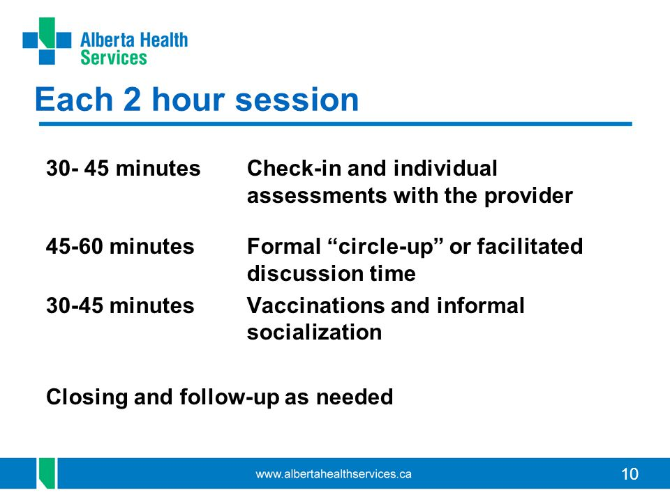 "10 Each 2 hour session 30- 45 minutes Check-in and individual assessments with the provider 45-60 minutes Formal ""circle-up"" or facilitated discussion"