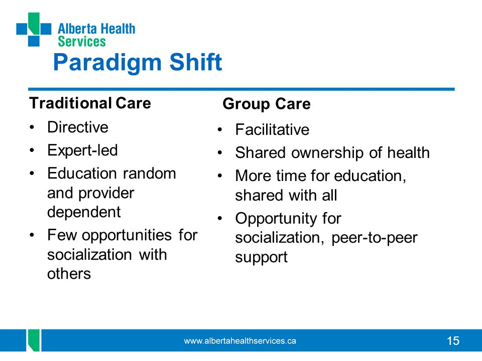 15 Paradigm Shift Traditional Care Group Care Directive Expert-led Education random and provider dependent Few opportunities for socialization with ot