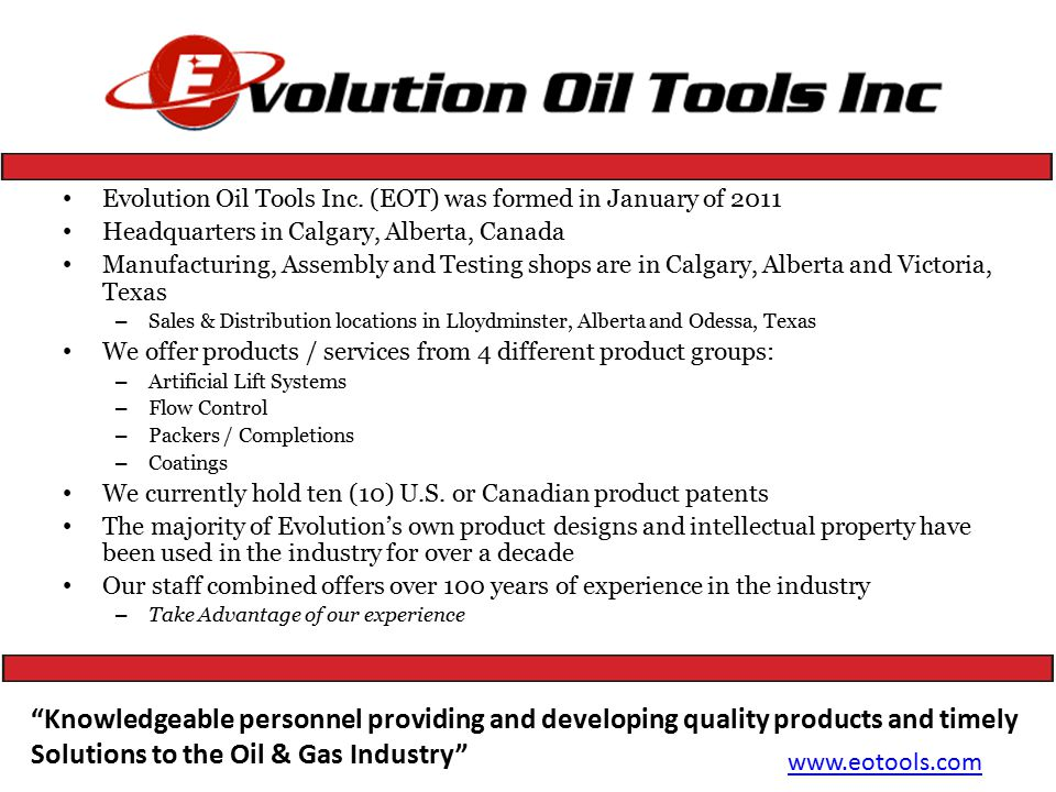 Evolution Oil Tools Inc.