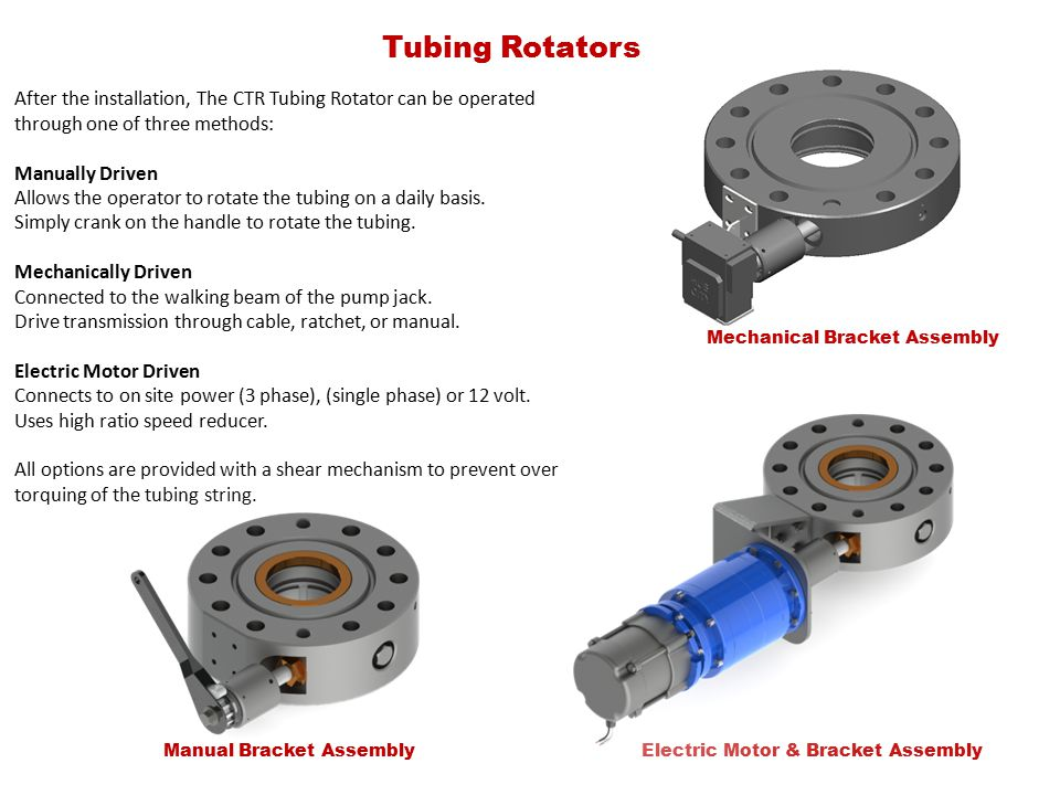 Tubing Rotators After the installation, The CTR Tubing Rotator can be operated through one of three methods: Manually Driven Allows the operator to rotate the tubing on a daily basis.