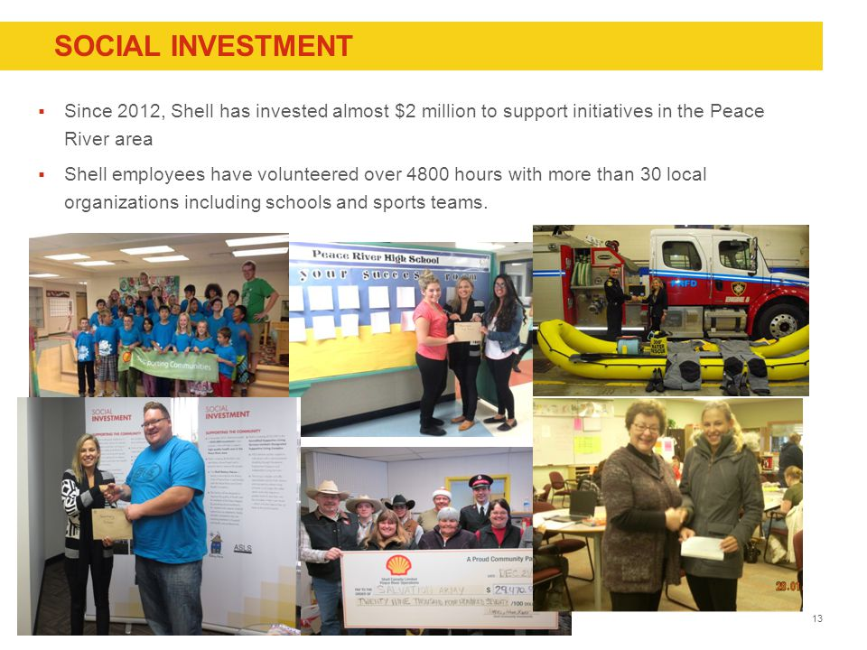 Copyright of Shell Canada  Since 2012, Shell has invested almost $2 million to support initiatives in the Peace River area  Shell employees have volunteered over 4800 hours with more than 30 local organizations including schools and sports teams.