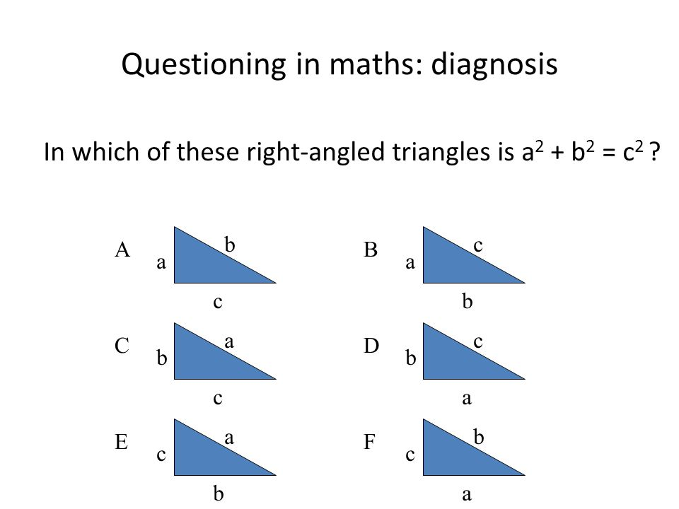 Questioning in maths: diagnosis In which of these right-angled triangles is a 2 + b 2 = c 2 ? A a c b C b c a E c b a B a b c D b a c F c a b