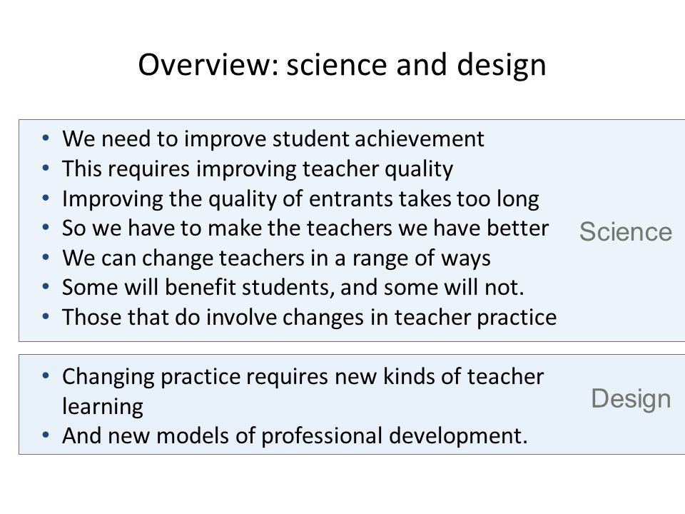 Overview: science and design Design Science We need to improve student achievement This requires improving teacher quality Improving the quality of en