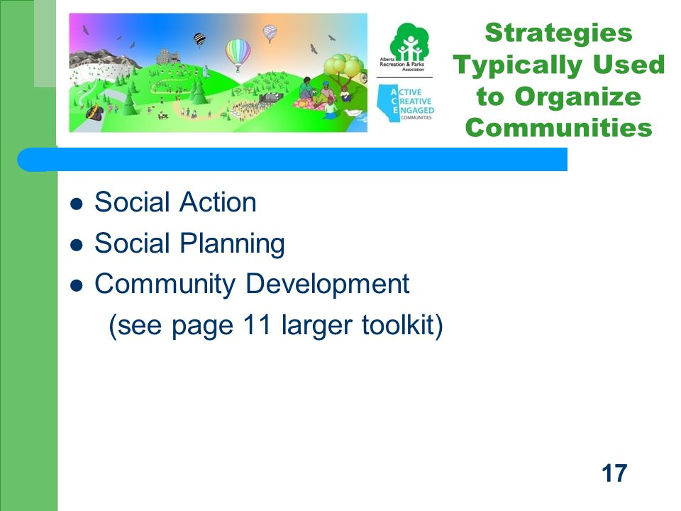 Social Action Social Planning Community Development (see page 11 larger toolkit) Strategies Typically Used to Organize Communities 17