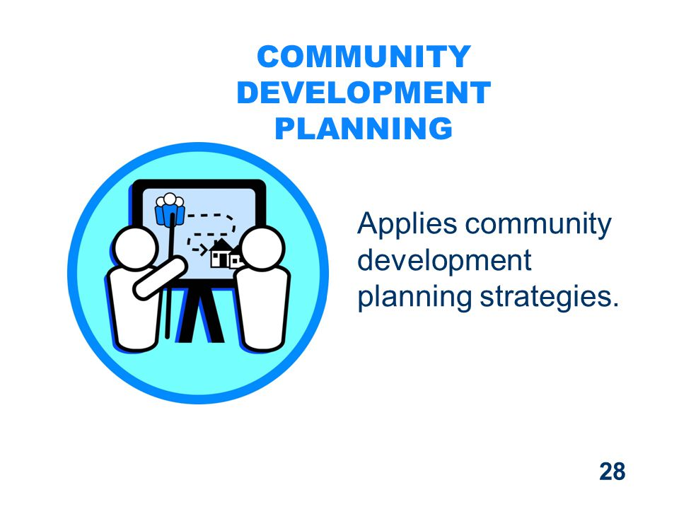28 Applies community development planning strategies. COMMUNITY DEVELOPMENT PLANNING