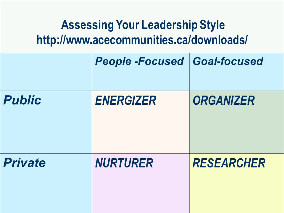 8 Assessing Your Leadership Style http://www.acecommunities.ca/downloads/ People -FocusedGoal-focused Public ENERGIZERORGANIZER Private NURTURERRESEARCHER