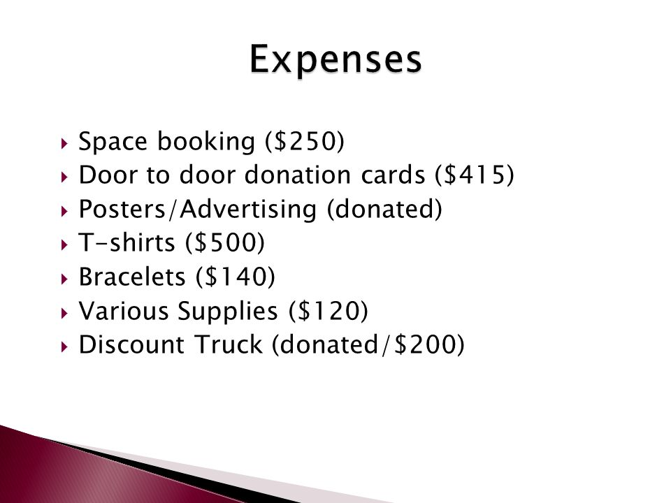  Space booking ($250)  Door to door donation cards ($415)  Posters/Advertising (donated)  T-shirts ($500)  Bracelets ($140)  Various Supplies ($120)  Discount Truck (donated/$200)