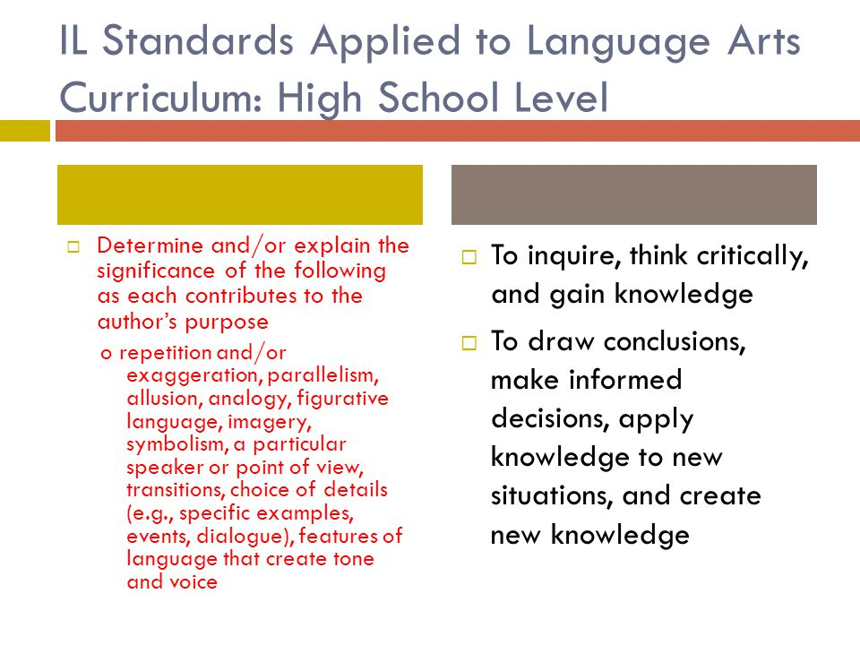 IL Standards Applied to Language Arts Curriculum: High School Level  Determine and/or explain the significance of the following as each contributes t
