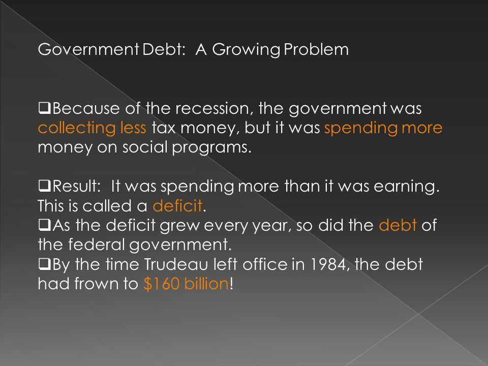 Government Debt: A Growing Problem  Because of the recession, the government was collecting less tax money, but it was spending more money on social programs.