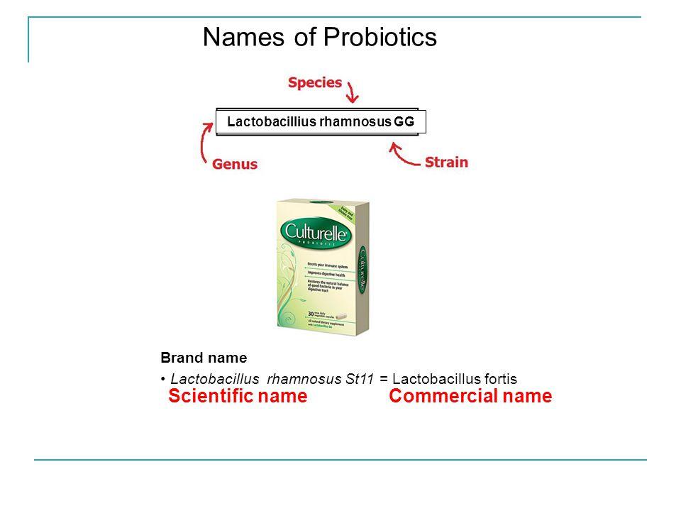 Names of Probiotics Kibow Biotech, Inc. Brand name Lactobacillus rhamnosus St11 = Lactobacillus fortis Scientific name Commercial name Lactobacillius