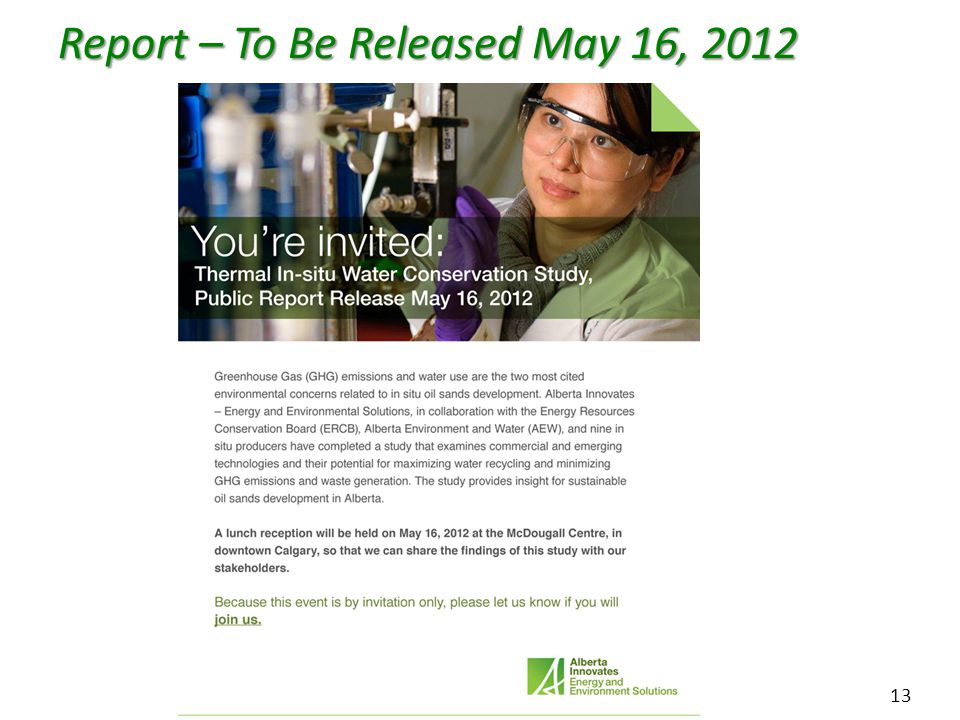 13 Report – To Be Released May 16, 2012