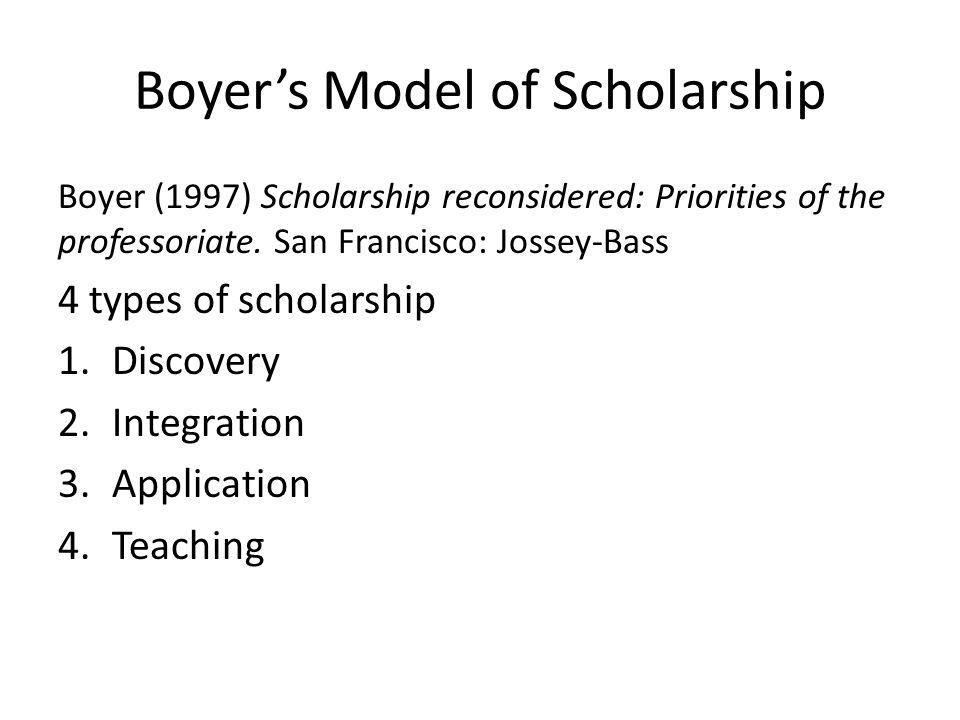 Boyer's Model of Scholarship Boyer (1997) Scholarship reconsidered: Priorities of the professoriate.