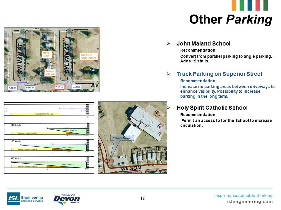 16 Other Parking  John Maland School Recommendation Convert from parallel parking to angle parking. Adds 12 stalls.  Truck Parking on Superior Stree