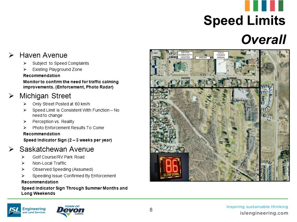 9 Speed Limits Reduced Speed Limits Recommendation Consider reduced speed limits in residential areas vs.
