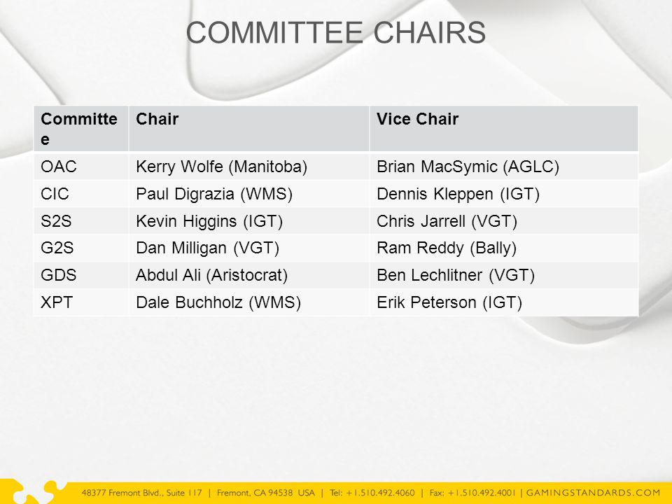 COMMITTEE CHAIRS Committe e ChairVice Chair OACKerry Wolfe (Manitoba)Brian MacSymic (AGLC) CICPaul Digrazia (WMS)Dennis Kleppen (IGT) S2SKevin Higgins (IGT)Chris Jarrell (VGT) G2SDan Milligan (VGT)Ram Reddy (Bally) GDSAbdul Ali (Aristocrat)Ben Lechlitner (VGT) XPTDale Buchholz (WMS)Erik Peterson (IGT)