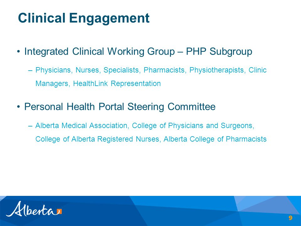 Clinical Engagement Integrated Clinical Working Group – PHP Subgroup –Physicians, Nurses, Specialists, Pharmacists, Physiotherapists, Clinic Managers,