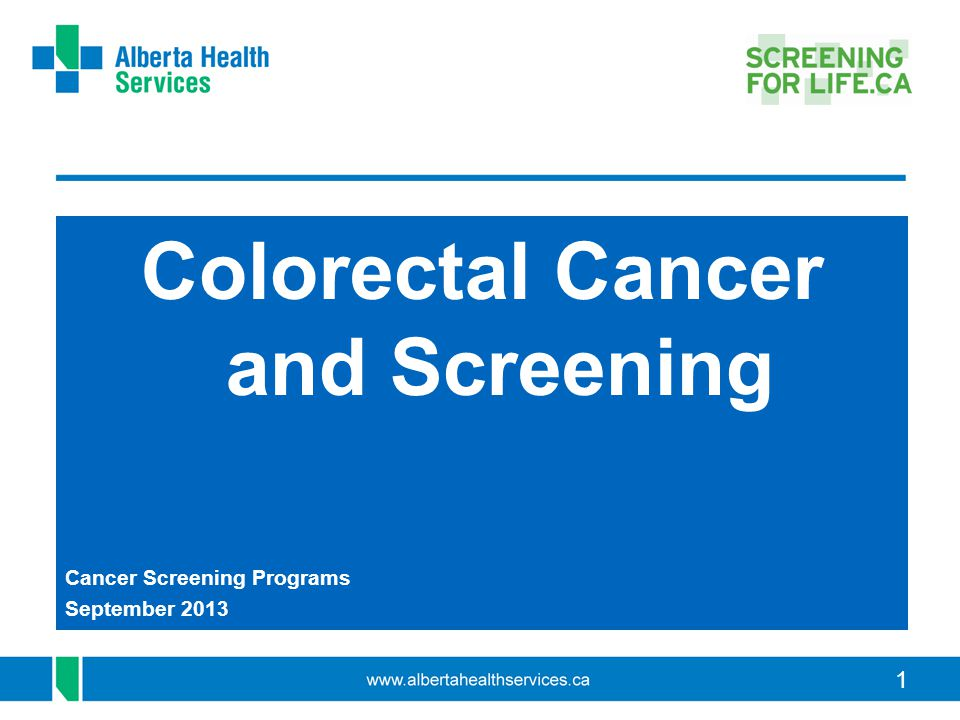 1 Colorectal Cancer and Screening Cancer Screening Programs September 2013