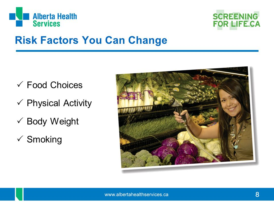 8 Risk Factors You Can Change  Food Choices  Physical Activity  Body Weight  Smoking
