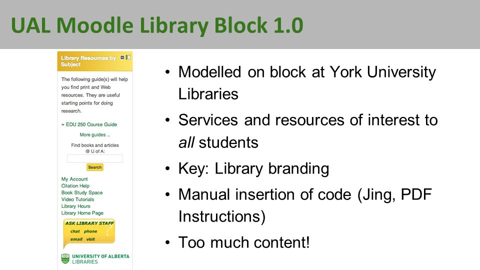 UAL Moodle Library Block 1.0 Modelled on block at York University Libraries Services and resources of interest to all students Key: Library branding Manual insertion of code (Jing, PDF Instructions) Too much content!
