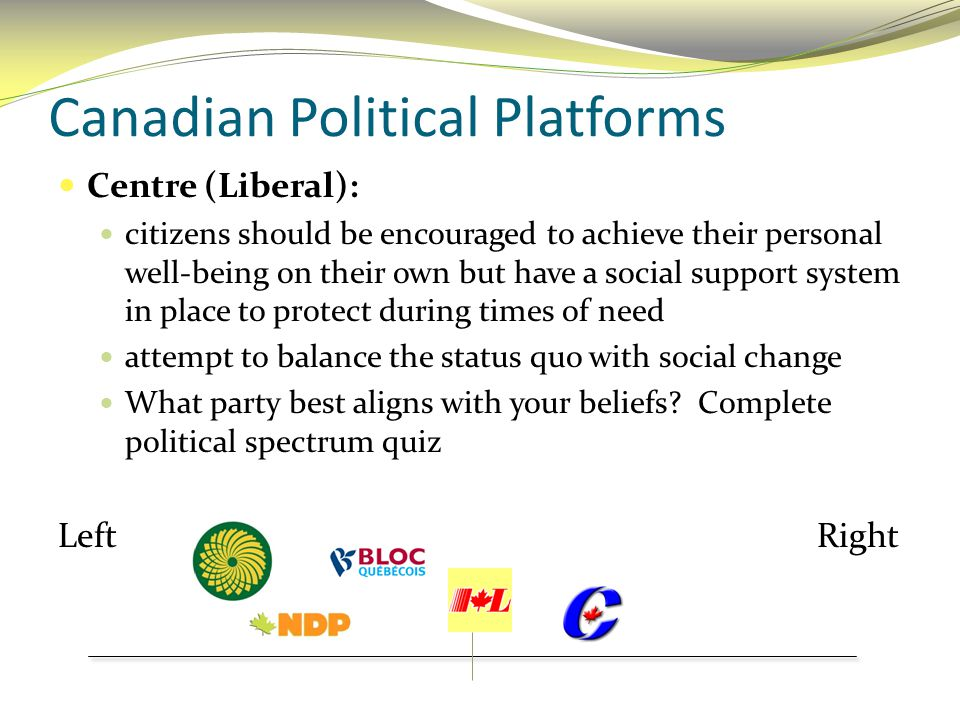 Canadian Political Platforms Centre (Liberal): citizens should be encouraged to achieve their personal well-being on their own but have a social suppo