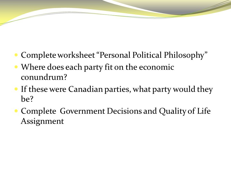 "Complete worksheet ""Personal Political Philosophy"" Where does each party fit on the economic conundrum? If these were Canadian parties, what party wou"