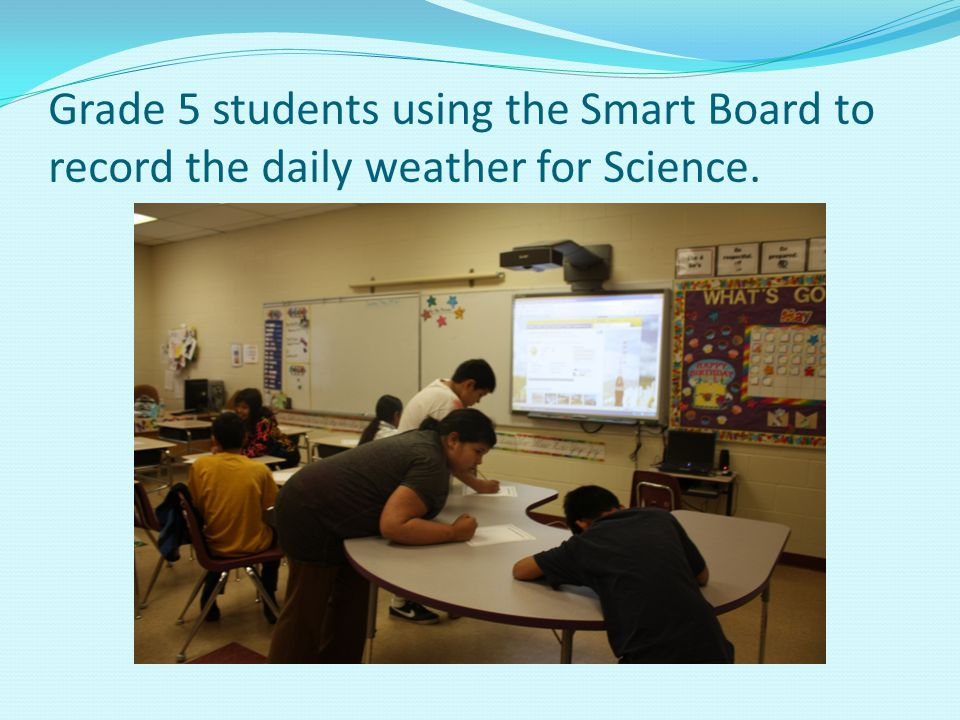 Grade 5 students using the Smart Board to record the daily weather for Science.