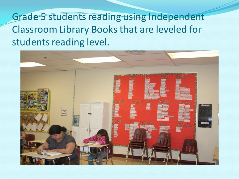 Grade 5 students reading using Independent Classroom Library Books that are leveled for students reading level.