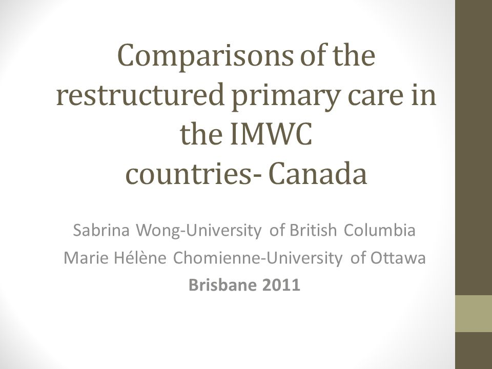 Comparisons of the restructured primary care in the IMWC countries- Canada Sabrina Wong-University of British Columbia Marie Hélène Chomienne-University of Ottawa Brisbane 2011