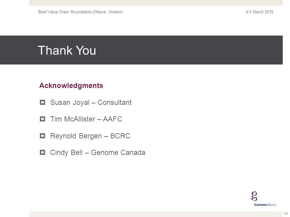 Thank You Acknowledgments  Susan Joyal – Consultant  Tim McAllister – AAFC  Reynold Bergen – BCRC  Cindy Bell – Genome Canada 4-5 March 2015Beef Value Chain Roundtable (Ottawa, Ontario) 23
