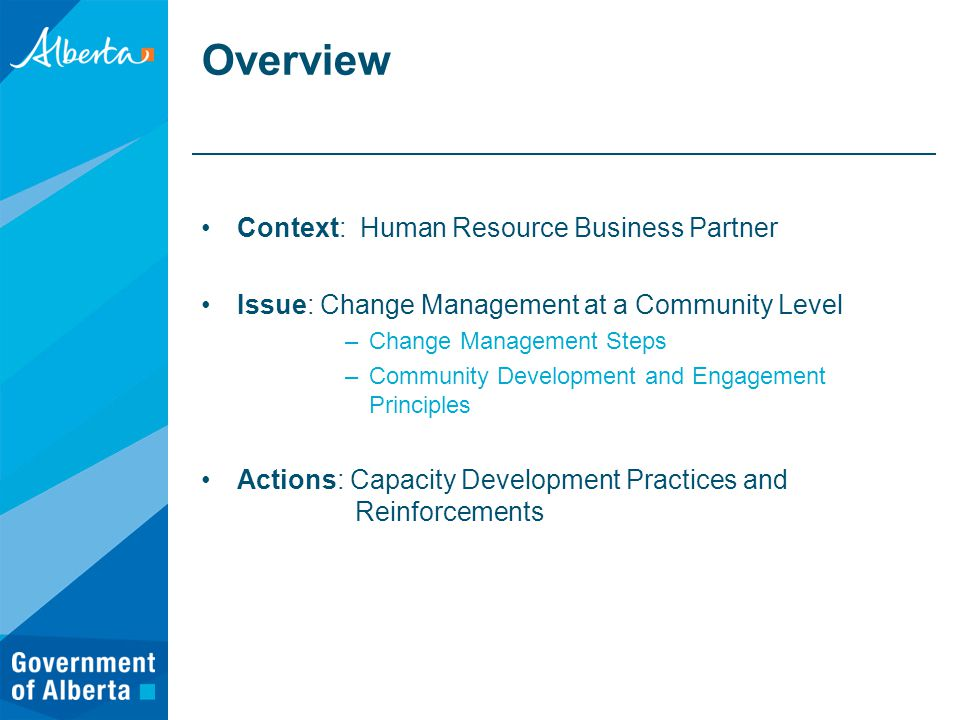 Overview Context: Human Resource Business Partner Issue: Change Management at a Community Level –Change Management Steps –Community Development and Engagement Principles Actions: Capacity Development Practices and Reinforcements